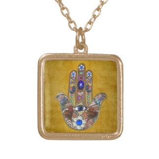 De Harten van Hamsa bloeit Opalen Kunst op Goud Goud Vergulden Ketting
