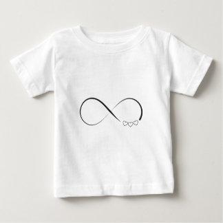 De hartensymbool van de oneindigheid baby t shirts