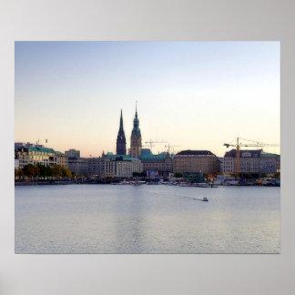 De Haven Hafen Michel Alster van Hamburg van het Poster
