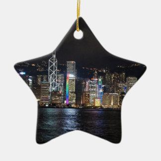 De Haven van Hong Kong bij nacht Keramisch Ster Ornament