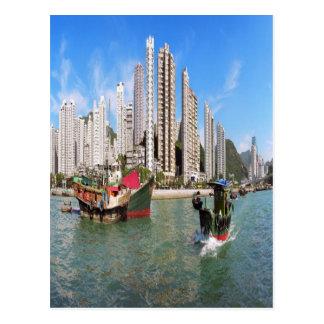 De haven van Hong Kong Briefkaart