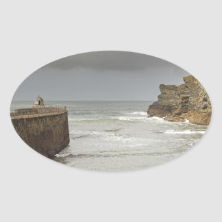 De haven van Portreath Ovale Sticker
