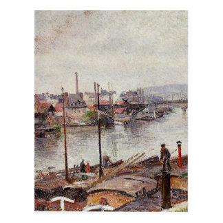De haven van Rouen 2 door Camille Pissarro Briefkaart