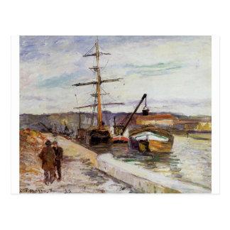 De haven van Rouen door Camille Pissarro Briefkaart