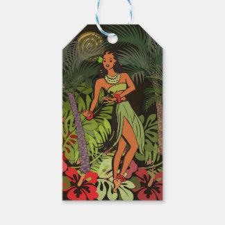 De Hawaiiaanse Druk van de Kunst Aloha BloemenHula Cadeaulabel