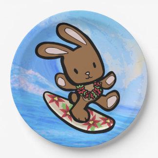 De Hawaiiaanse het Surfen Cartoon van de Vakantie Papieren Bordje
