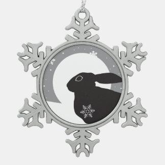 De Hazen van de sneeuw Tin Sneeuwvlok Ornament