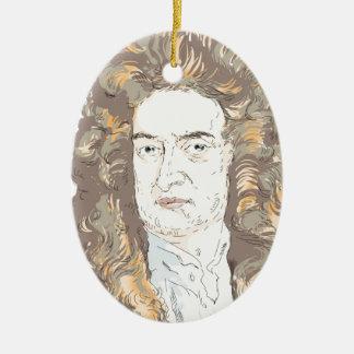 De heer Isaac Newton Keramisch Ovaal Ornament