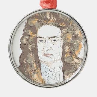 De heer Isaac Newton Zilverkleurig Rond Ornament