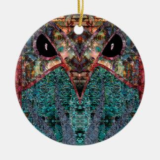 De heer Owl Rond Keramisch Ornament