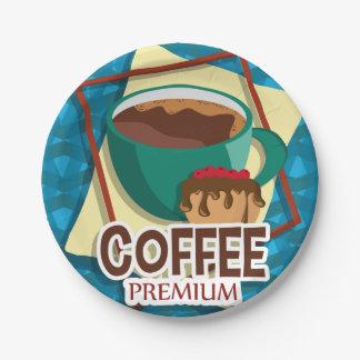 De heerlijke kop van de illustratie van koffie met papieren bordjes