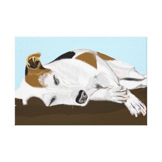 De Hefboom Russell Terrier van de slaap Canvas Afdrukken