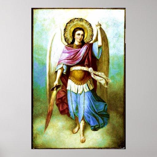 De Heilige Aartsengel Heilige Michael Poster van d