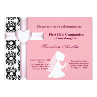 De Heilige Communie van het damast 12,7x17,8 Uitnodiging Kaart