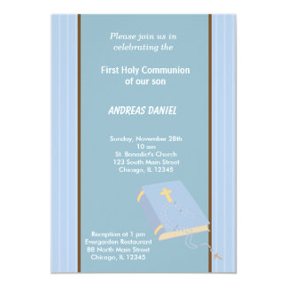 De Heilige Communie van strepen 12,7x17,8 Uitnodiging Kaart