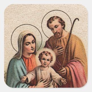 De heilige Familie - Jesus, Mary, en Joseph Vierkante Sticker