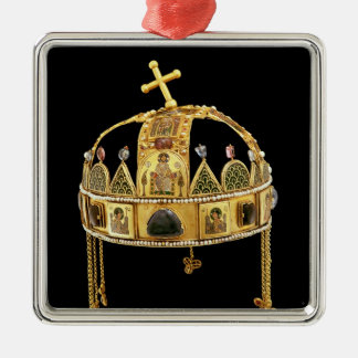 De heilige Kroon van Hongarije, elfde-11th-12ste Zilverkleurig Vierkant Ornament