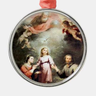 De heiligste Drievuldigheid en de Heilige Familie Zilverkleurig Rond Ornament