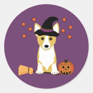 De Heks Halloween van Corgi Ronde Sticker
