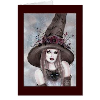 De Heks van Halloween met katkaart door Renee Briefkaarten 0