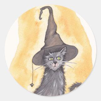 De Heks van het Kat van Halloween Ronde Sticker