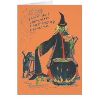 De heksen brouwen Gelukkig Halloween met Kat Notitiekaart