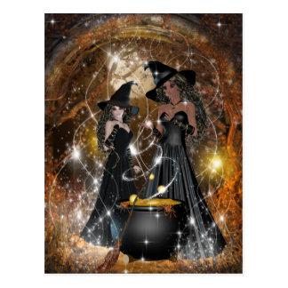 De Heksen van Halloween in Zwarte Briefkaart