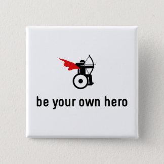 De Held van het Boogschieten van de rolstoel Vierkante Button 5,1 Cm
