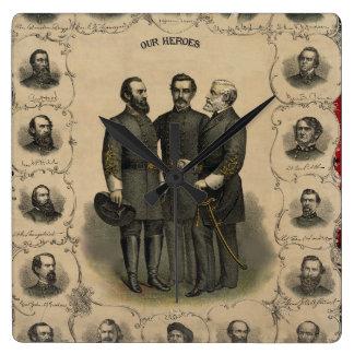De Helden de V.S. Amerikaan van de Burgeroorlog Vierkante Klok
