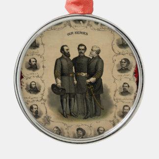 De Helden van de Burgeroorlog Zilverkleurig Rond Ornament