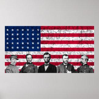 De Helden van de Unie en de Amerikaanse Vlag Poster