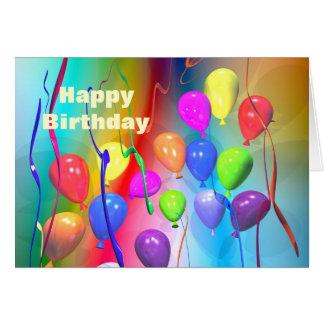 De heldere Ballons van de Verjaardag Kaart