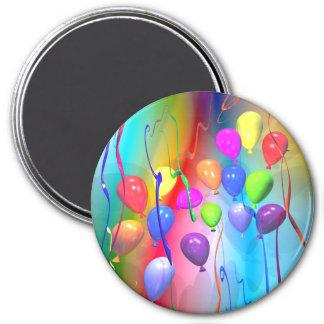 De heldere Ballons van de Verjaardag Ronde Magneet 7,6 Cm