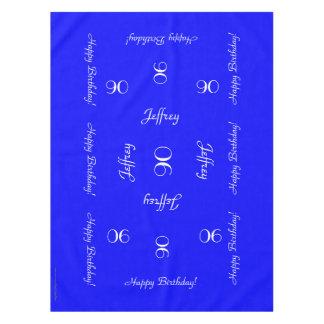 De heldere Blauwe Gepersonaliseerde 90ste Doek van Tafelkleed