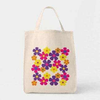 De heldere Bloemen van de Hippie van Kleuren Boodschappen Draagtas