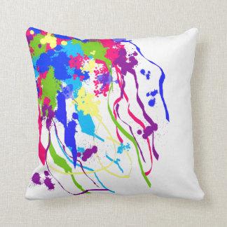 De heldere en Kleurrijke Abstracte Inkt ploetert Sierkussen