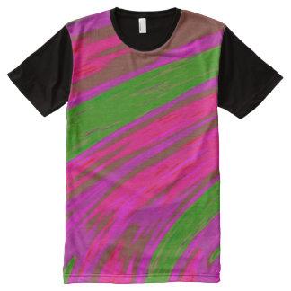 De heldere Roze Groene Slis van de Kleur All-Over-Print T-shirt