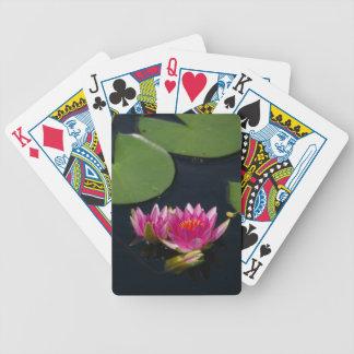 De heldere Roze Speelkaarten van Lotus Waterlilies Bicycle Speelkaarten