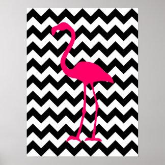 De heldere Roze Zwart-witte Zigzag van de Flamingo Poster