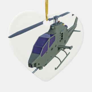 De helikopter van Apache in vooraanzicht Keramisch Hart Ornament