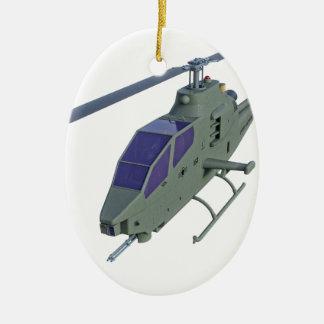 De helikopter van Apache in vooraanzicht Keramisch Ovaal Ornament