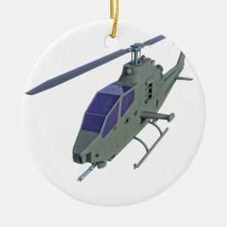 De helikopter van Apache in vooraanzicht Rond Keramisch Ornament