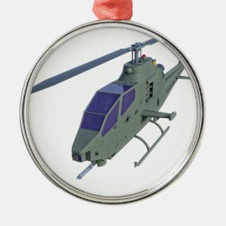 De helikopter van Apache in vooraanzicht Zilverkleurig Rond Ornament
