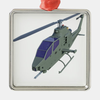 De helikopter van Apache in vooraanzicht Zilverkleurig Vierkant Ornament
