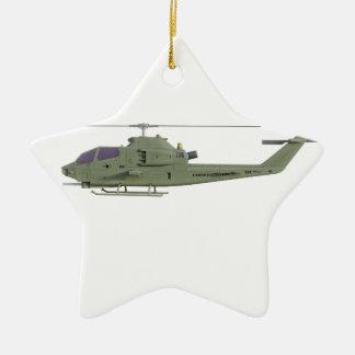De helikopter van Apache in zijaanzichtprofiel Keramisch Ster Ornament