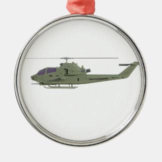 De helikopter van Apache in zijaanzichtprofiel Zilverkleurig Rond Ornament
