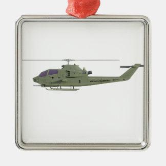 De helikopter van Apache in zijaanzichtprofiel Zilverkleurig Vierkant Ornament