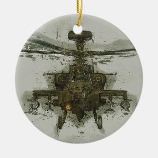 De Helikopter van de Aanval van Apache Rond Keramisch Ornament