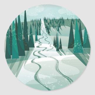 De Helling van de winter Ronde Sticker