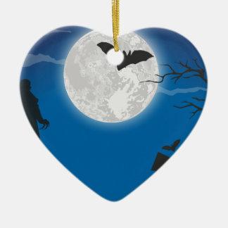 De hemel van het maanlicht keramisch hart ornament